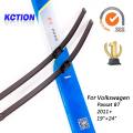 "Car windshield wiper blade para volkswagen passat b7 (2011 +), 19 ""+ 24"", borracha Natural, bracketless limpa, Acessórios do carro"