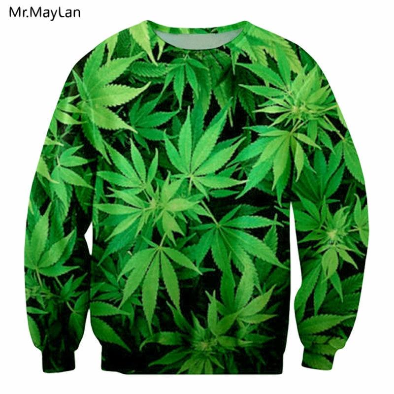 Feuille Hemp Leaves Smoke Weed 3D Print Sweatshirts Men/Women Long Sleeve Pullovers Outerwear Streetwear Boys Green Clothes Tops