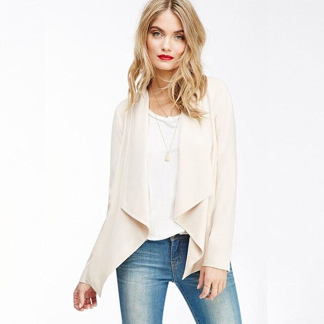2016 Новый Женщины Куртка Повседневная Пальто Тонкий Костюм Верхняя Одежда Пальто женщины Blazer Feminino Женщины Длинные Blazer Куртки Плюс Размер Femme пальто