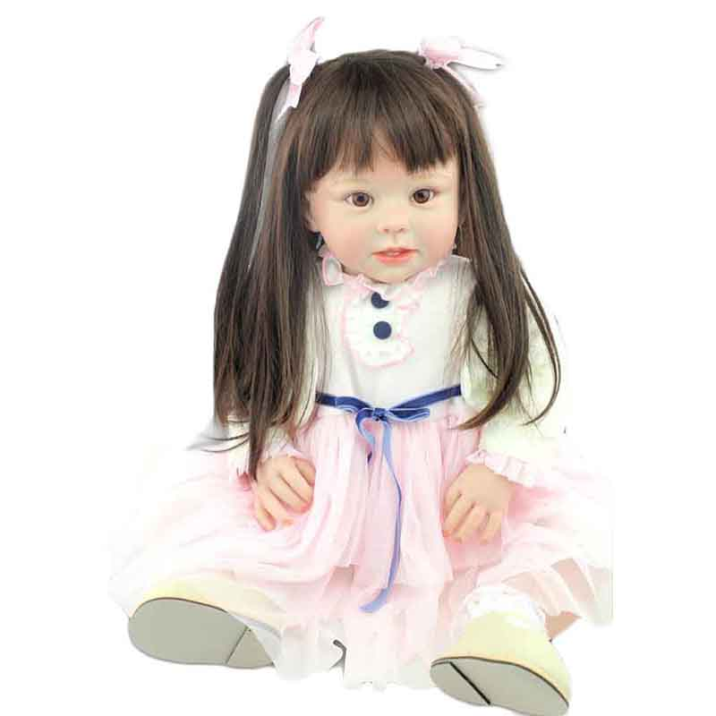 New arrival 70cm 28inch Handmade Baby Girl Doll Soft Silicone Vinyl Lifelike Simulation Cute The Best
