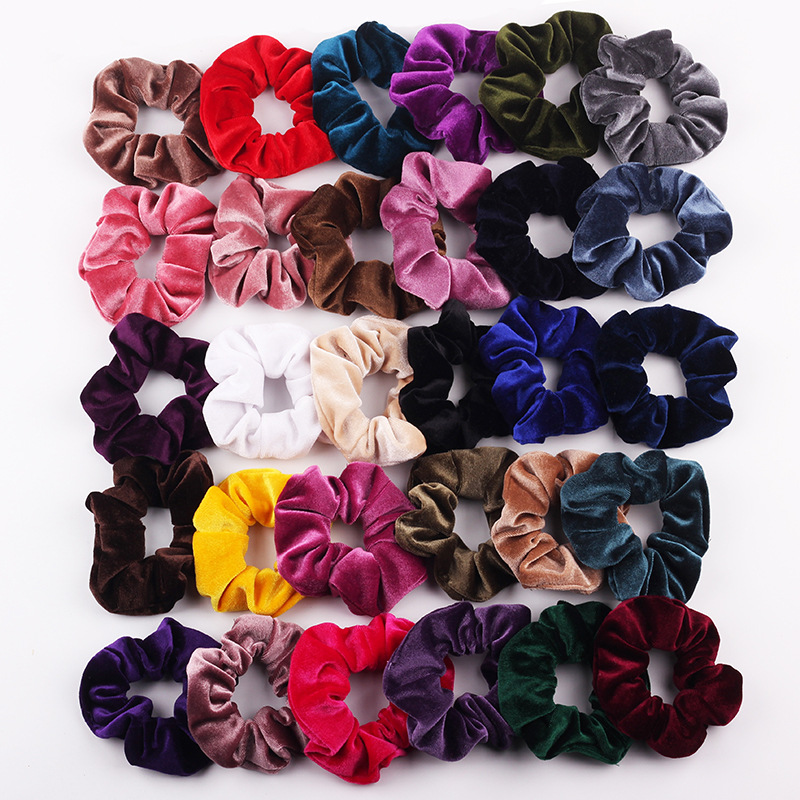 30 colors Velvet Scrunchie Women Girls Elastic Hair Rubber Bands Accessories Gum For Women Tie Hair Ring Rope Ponytail Holder plaid