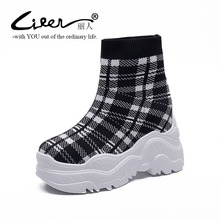 Winter New Women Boots Casual Platform Wedge Knitted Socks Short Boots Elastic Band Stretch Flat Shoes High Heels Ankle Boots цены онлайн