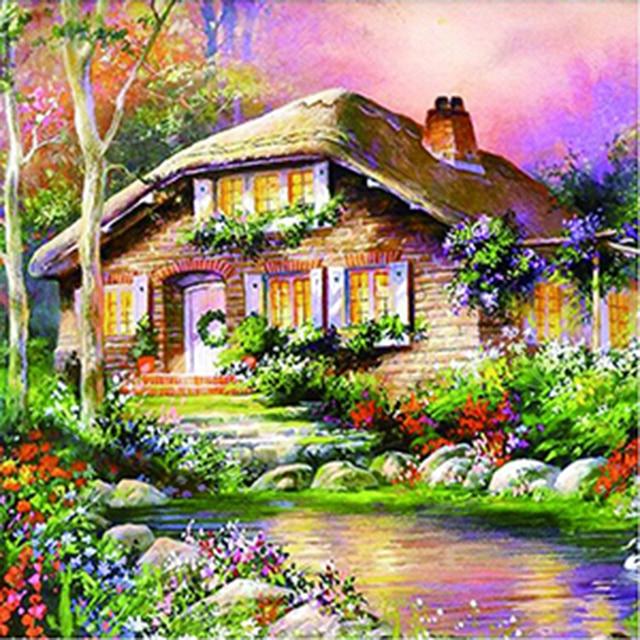 NAIYUE Three Types Garden Cartoon Hut Scenery 3D Diamond Mosaic ...