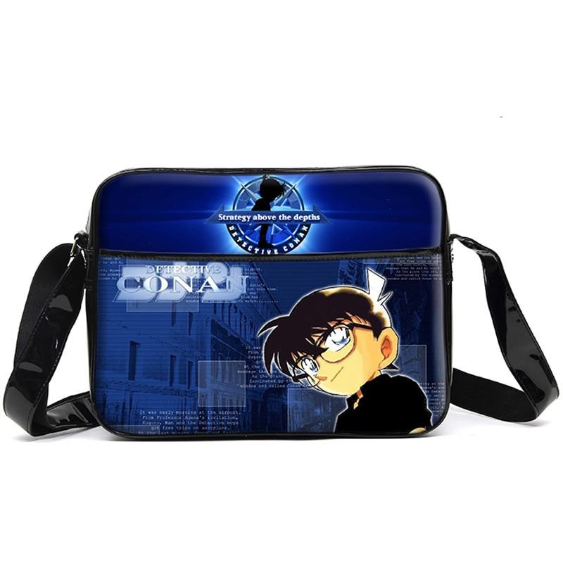 Anime Conan Shoulder Bag Unisex Creative PU Student Book Bag Messenger Bags Free Shipping new anime death note misa amane pu canvas durable school student book bag messenger shoulder bags