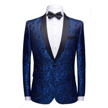 Classic Blue Jacquard Suit Men Jackets Slim Design Men Dress Jacket Asian Size 4XL Wedding Banquet Men Suit High Quality