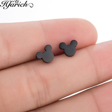 Hfarich Stainless Steel Cartoon Mickey Stud Earrings for Women Girls Kid Birthday Gift Cute Animal Mouse Earring Black Female cheap Fashion Trendy Metal Push-back jewelry accessories brincos tiny earrings