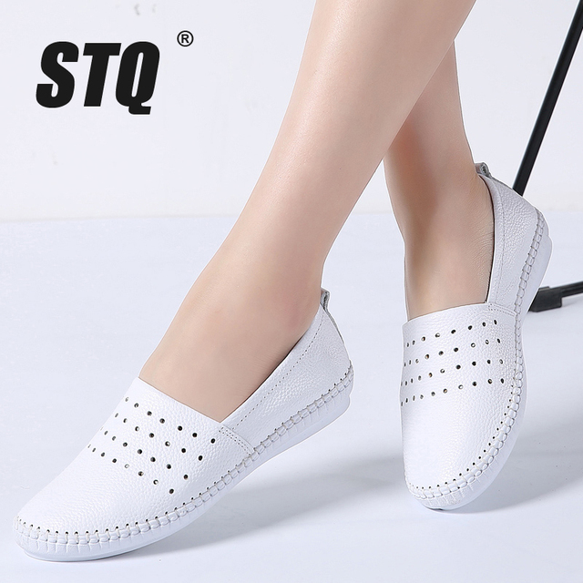 STQ 2020 Summer Women Flats Genuine Leather Ballet Flats Shoes Ladies Cutout Slip On Tenis Feminino Loafers Slipony Shoes B17