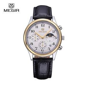 Image 4 - Megir fashion leather quartz watch man luxury waterproof chronograph sport wristwatch men relogios masculinos 5007 free shipping