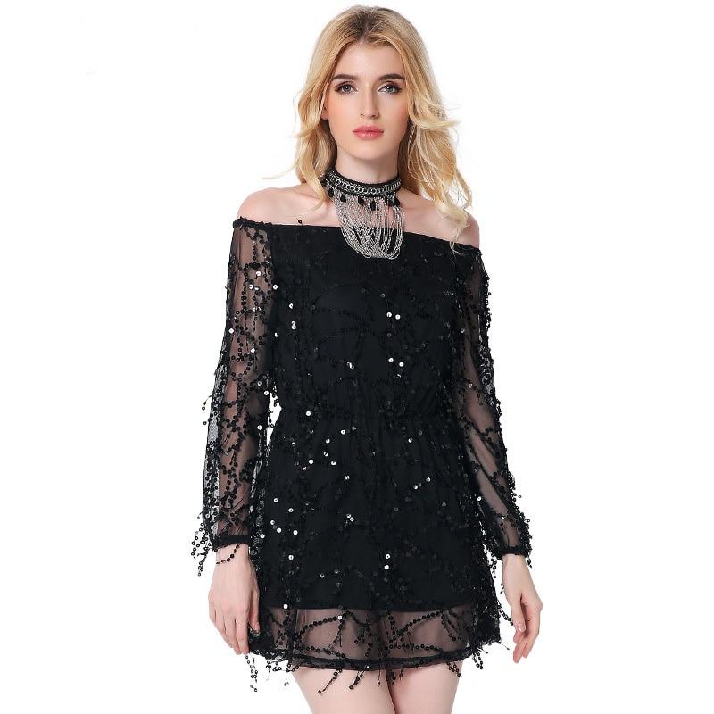 Buy Cheap 2017 new fashion dress women Evening Club Party Sexy Sequin Chiffon Long Sleeve dresses slash neck female clothing Spring Autumn
