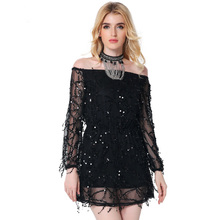 2017 new fashion dress women Evening Club Party Sexy Sequin Chiffon Long Sleeve dresses slash neck female clothing Spring Autumn