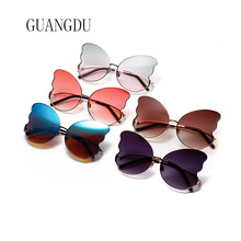 Oversized Butterfly Glasses Frames Gold Frame Sun Men Vintage Metal Sunglasses Blue Red Pink Lens 5 Colors Dropshipping