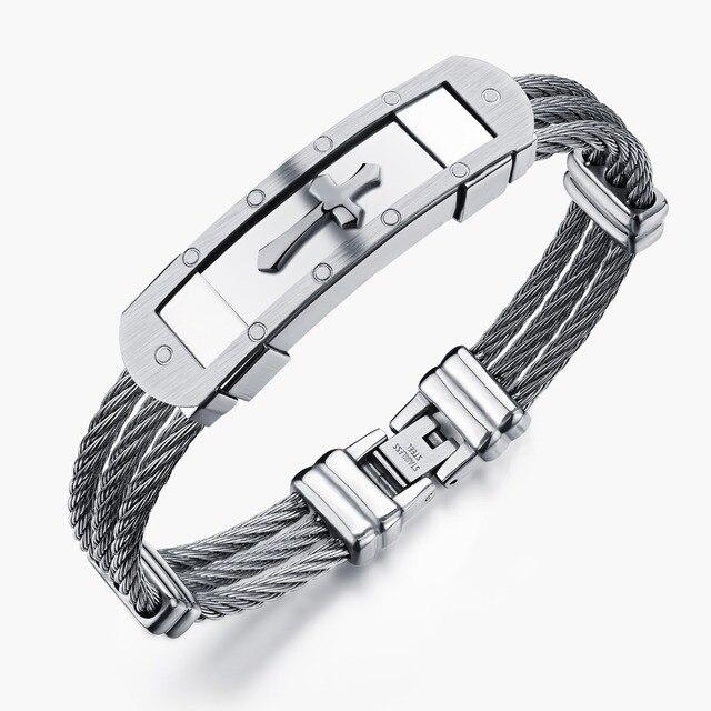 680145ae02f62d Spersonalizowane moda męska biżuteria krzyż styl metalowe bransoletki ze  stali nierdzewnej torebka z paskiem na nadgarstek