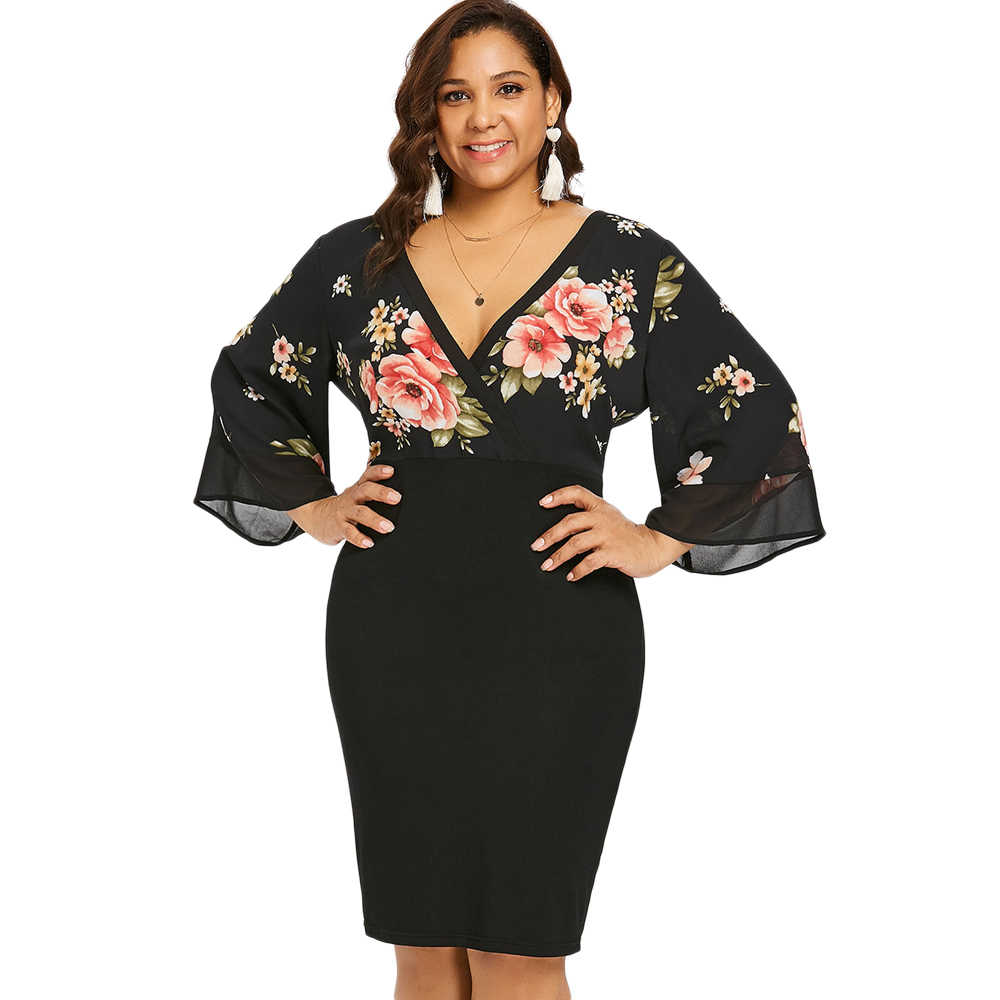 Wipalo Plus Size Bell Sleeve Low Cut Floral Bodycon Dress Women Plunging Neck 3/4 Sleeve Summer Dresses Party OL Dress Vestidos