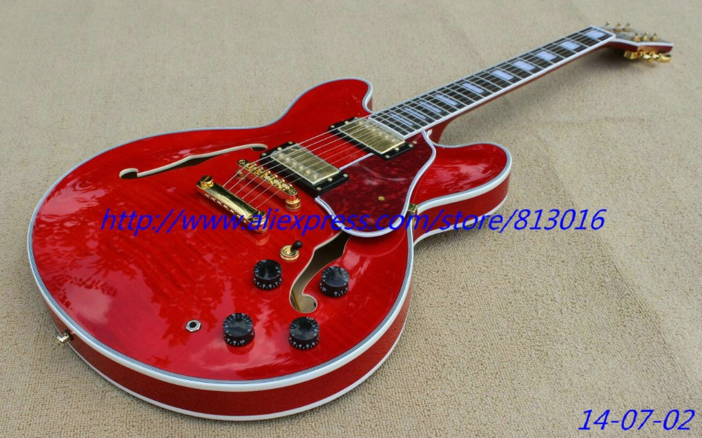 best china guitar Custom Shop ES guitar fresh Cherry Electric Guirar OEM Musical Instruments with fret nibs,ebony fingerboard! vicers custom shop 1959 lp vintage signed faded tobacco burst billy gibbons guitars instruments musical electric guitar