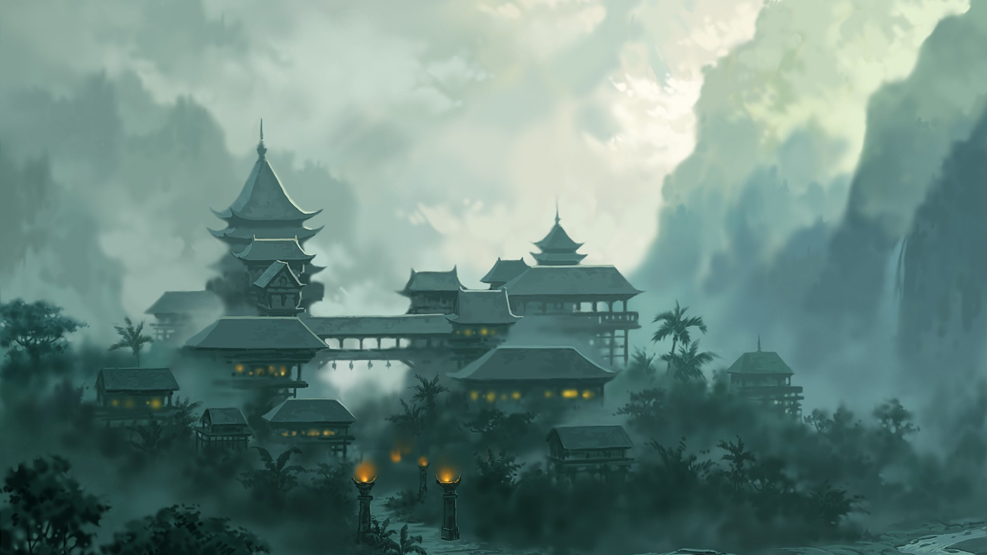 <font><b>asian</b></font> oriental fantasy temple church cathedral architecture buildings mountains jungle clouds fog <font><b>Home</b></font> <font><b>Decoration</b></font> Canvas Poster