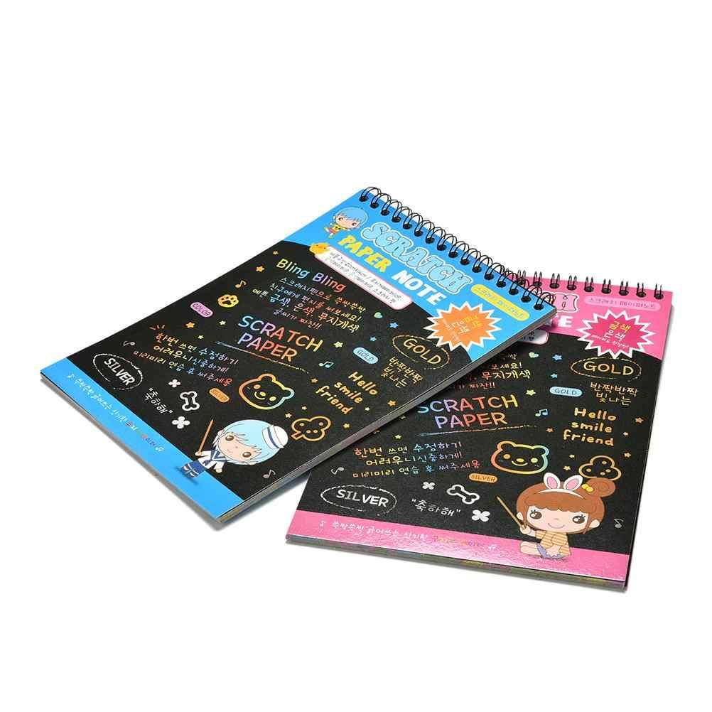 Divertente Disegno Libro Scratch Graffiti Magia Nota Schizzo Nero Libri di Cartone Per I Bambini Giocattolo Per Bambini di Scuola Forniture Giochi di disegno