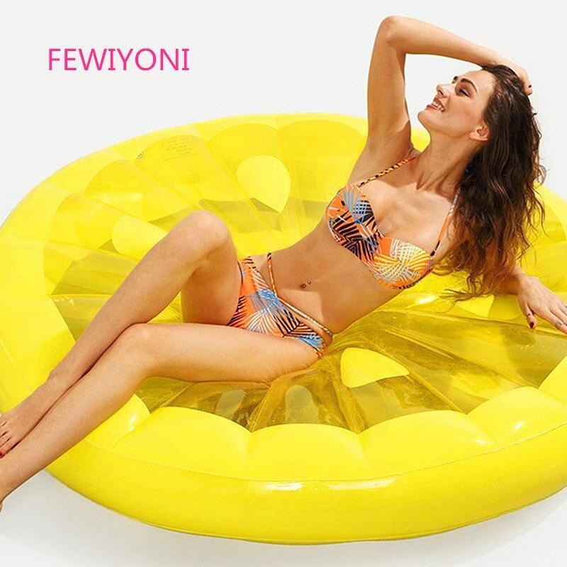 FEWIYONI Adulte enfants anneau de bain flottant lit anneau de natation grand rond lemon flotteur piscine d'eau fun sport plage jouets