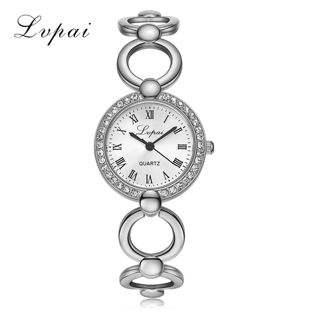 Lvpai Brand Gold Plated Bracelet Watches Women Luxury Crystal Dress Fashion Wris