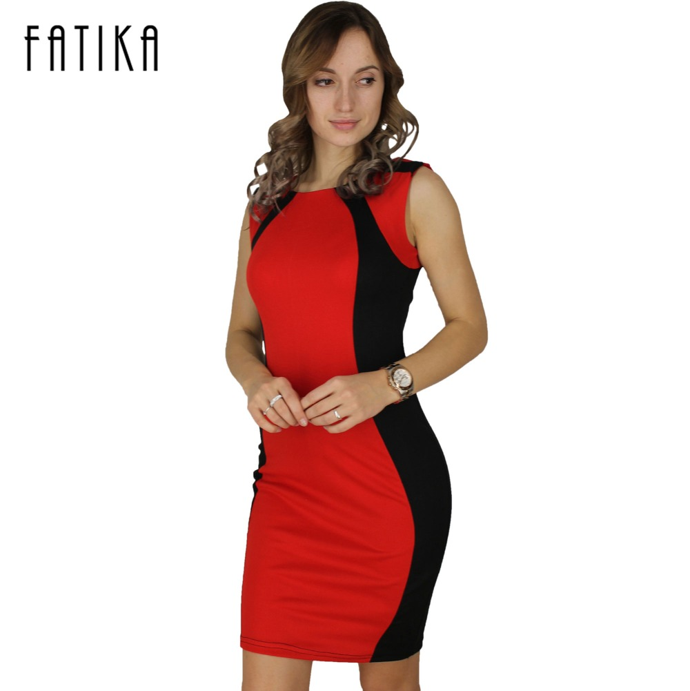Color block party dress - Fatika 2017 Summer Women Vintage Contrast Color Block Slimming Wear To Work Office Business Party Pencil