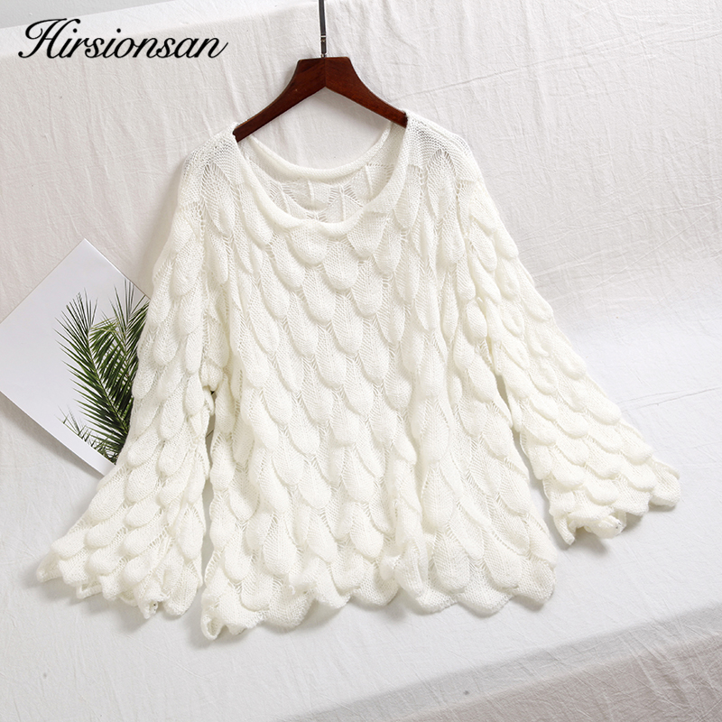 Hirsionsan Elegant Sweater Women 2018 Casual Fashion Loose Women Sweaters and Pullovers Cute 3D Pink White Jumper Sueter Mujer