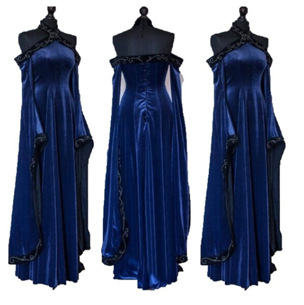 Renaissance Medieval Costume Adult Women Long Gown Dress Victorian Retro Blue Dress For Ladies Halloween Party Costumes S 2 Xl by Ali Express