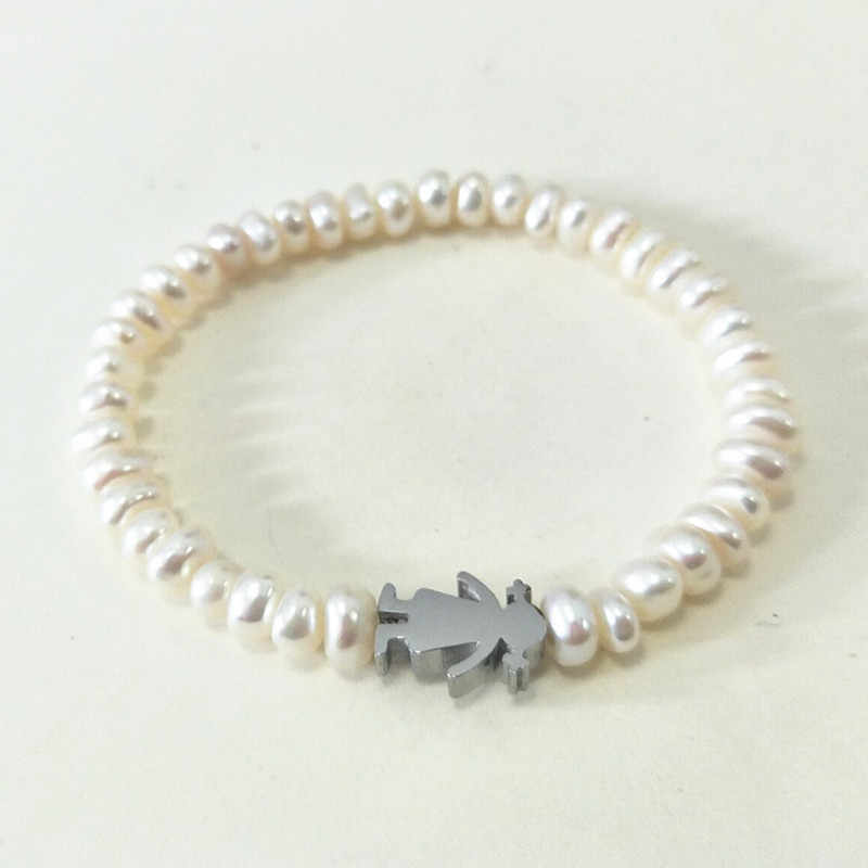 Fashion Women Men Silver Gold Stainless Steel Small Girls Flower Animal Charm White Ball Natural Beads Bracelet