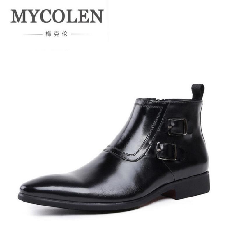 MYCOLEN Men Boots Genuine Leather Comfortable Ankle Shoes Autumn Winter Black Luxury Designer Dress Boots botas masculina