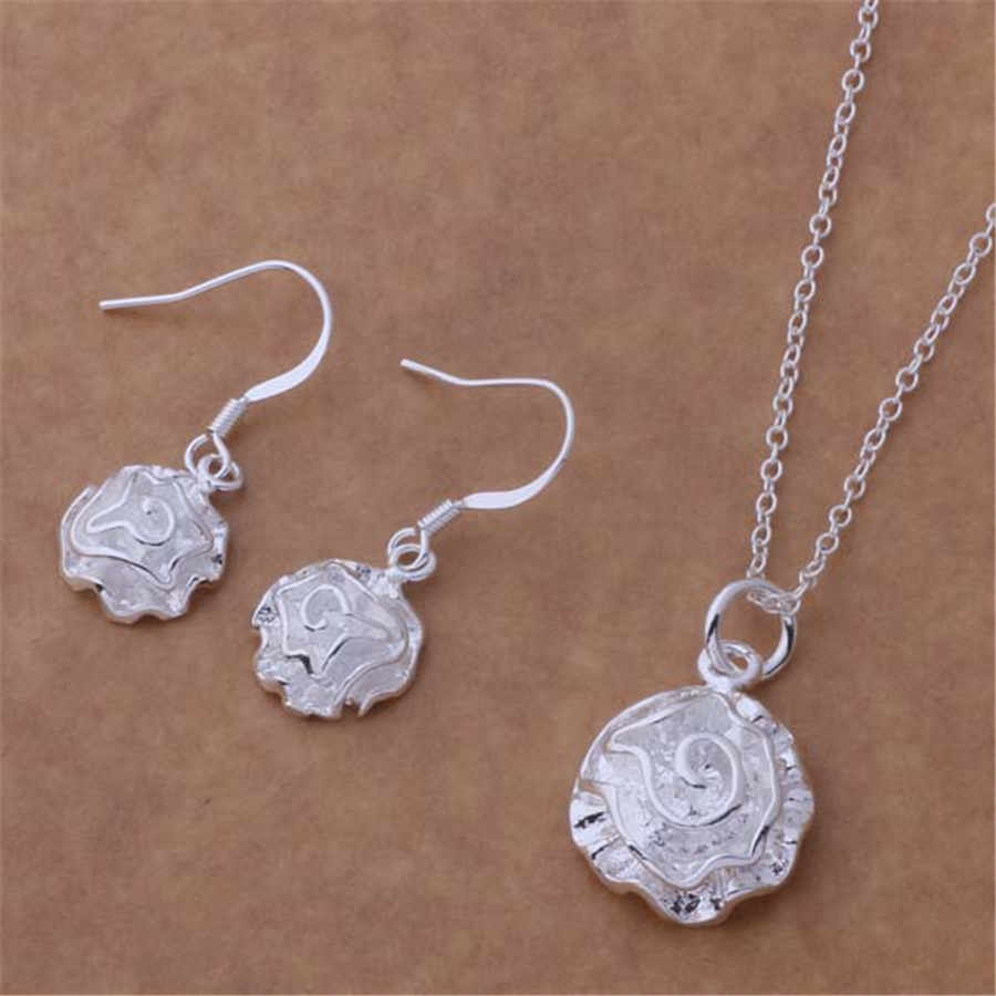 new factory wholesale silver color jewelry fashion charm Women rose flower cute Classic necklace earring Jewelry Sets AT192