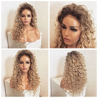 DLME Blonde Lace Front Wig With Natural Hairline Synthetic hair kinky Curly Wig 180% Density glueless ombre Wigs For Black Women