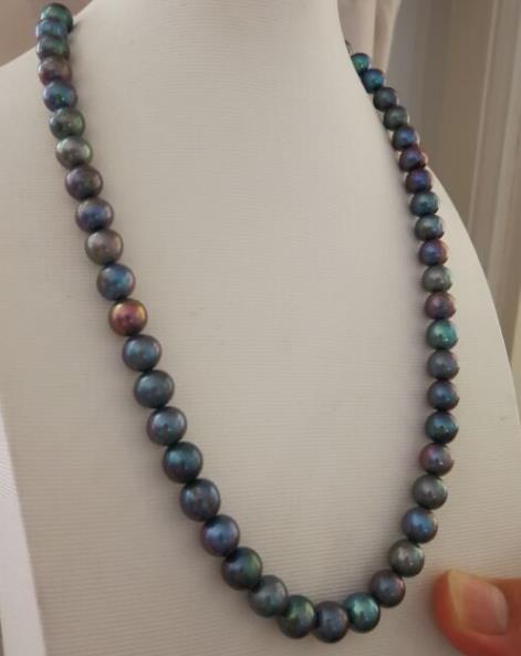 Здесь продается  stunning9-10mm sTahitia round black green pearl necklace 18inch 925 silver  Ювелирные изделия и часы