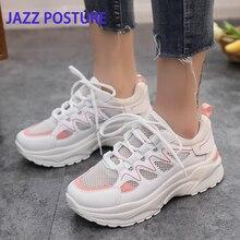 afeee4d99 أزياء رياضية السيدات رياضية أحذية منصة الأبيض أحذية رياضية أسافين تنفس شبكة  تنفس السيدات حذاء كاجوال · 2 اللون
