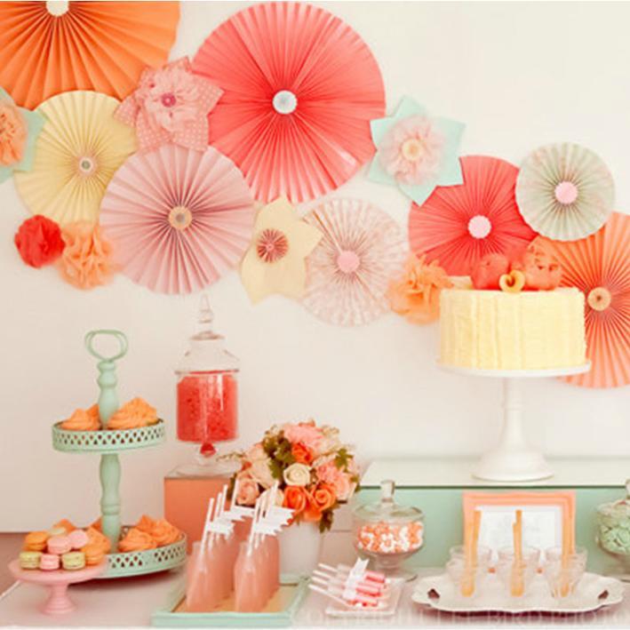 color creative foldable tissue paper fan free shipping 25pcslot 20cm wedding flowers bouquets paper - Cheap Party Decorations