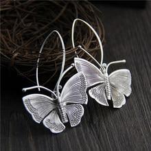 C&R Real 925 Sterling Silver Earrings for Women Butterfly Molding Thai Silver Drop Earrings Handmade Ethnic Fine Jewelry