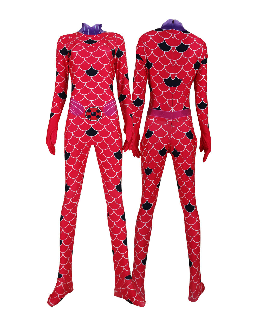 3D Print Dragon Ladybug Marinette Cosplay Costume Dragon Bug Superhero Halloween Lycra Zentai Suit Girls Women