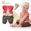 Детские хлопок одежда для новорожденных комплект одежды лета мода оптово-малыша девушки мило с коротким рукавом повязка на голову брюки бесплатная доставка
