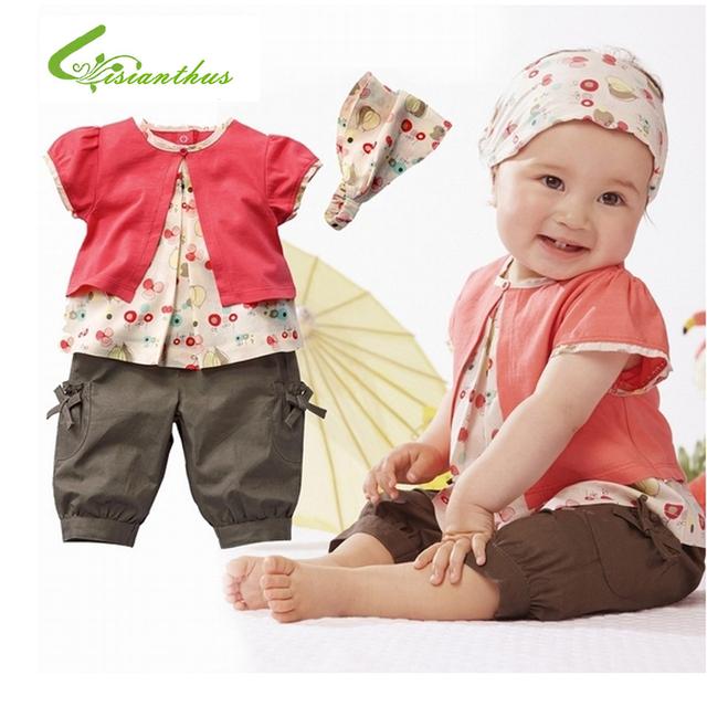 Ropa del algodón del bebé muchacha del verano que arropan moda muchachas del niño lindo corto manga de la camiseta con banda de sujeción pantalones envío gratis