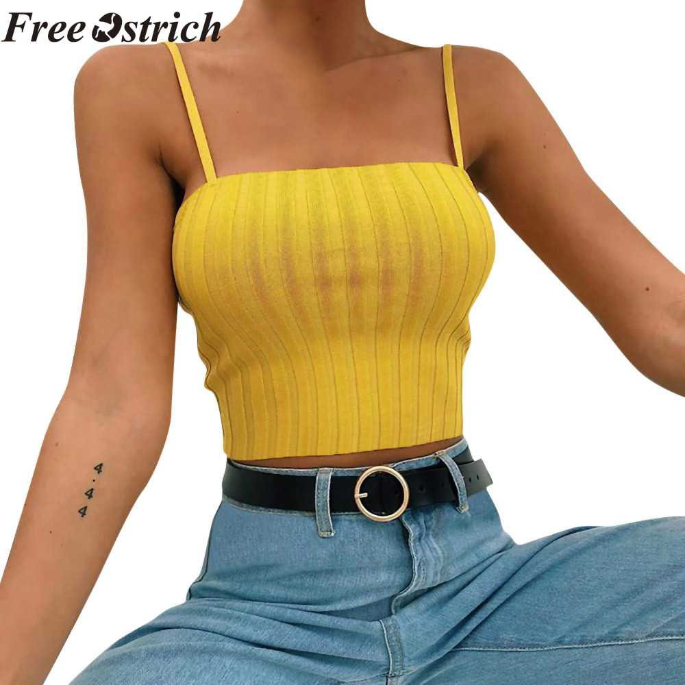 FREE OSTRICH womens slim solid maiden styl vest off shoulder halter tight summer women casual sexy vest comfortable t-shirt
