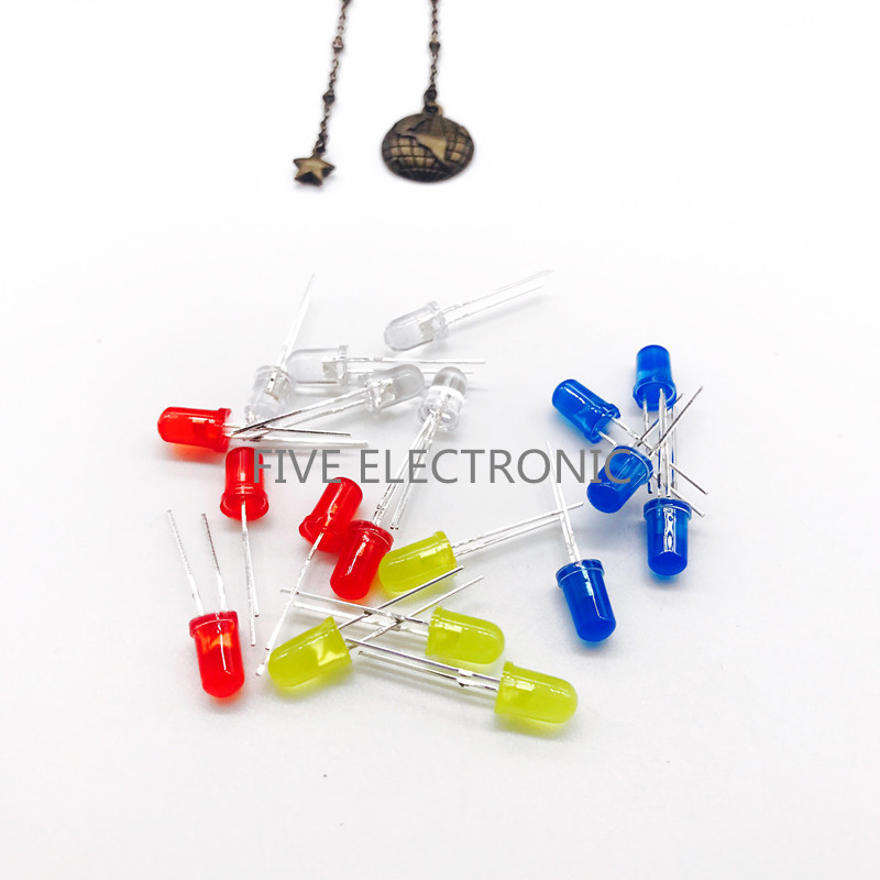 Conjunto de diodos LED de 5 MM, luz alta, rojo, amarillo, Jade Verde, Azul, Blanco 5 unids/lote