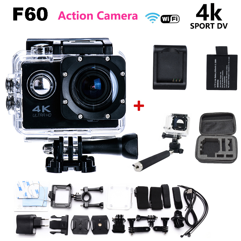 Hot Sale Ultra HD Camera 4K F60 WiFi Sport extreme Diving Helmet Action Camera 1080P Waterproof 16MP 2.0 inch mini Action Cam