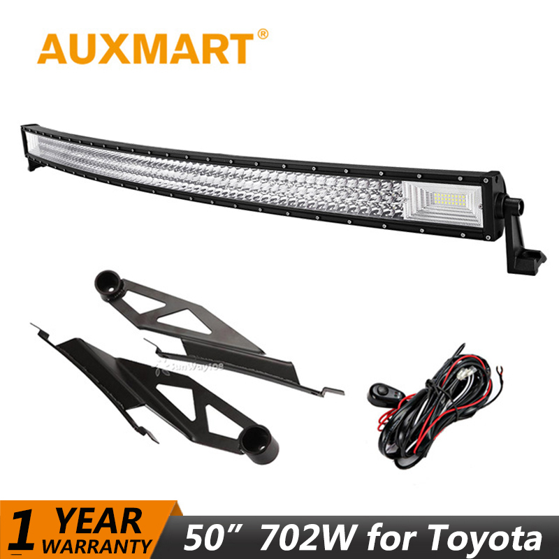 Auxmart LED Light Bar for Toyota Tundra 2007~2014 Curved 50 702W LED Work Light Bar fog Lamp Combo Beam Offroad + Mount Bracket np shock resistant waterproof watch men 2016 new nylon sport watches ultra slim watchcase men s fashion clock large white dial