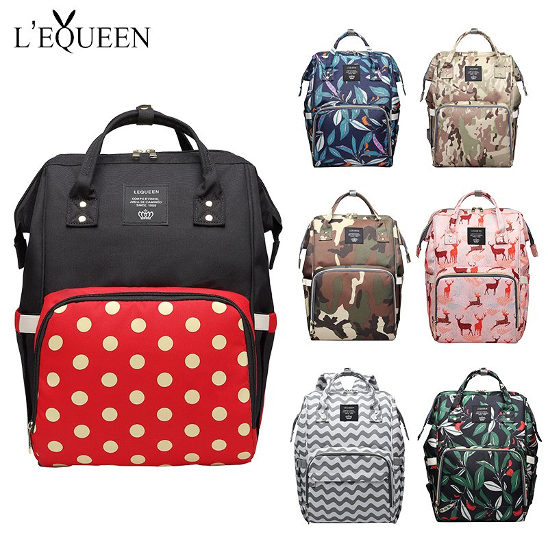 LEQUEEN Fashion Mummy Bag Maternity Diaper Bags Patter Print Large Capacity Baby Care Travel Backpack Nursing Bag Baby Care Prop