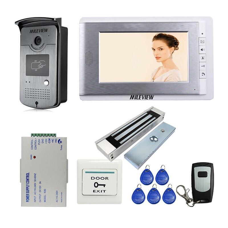 MILEVIEW Filaire 7 vidéo Porte Téléphone Interphone Système D'entrée 1 Moniteur + 1 RFID Accès Caméra + Électrique Serrure Magnétique LIVRAISON GRATUITE