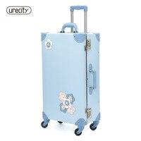 2018 Новое путешествие чемодан spinner камера прокатки с цветочным принтом образец Детские чемодан; саквояж цвет небесно синий Бесплатная доста