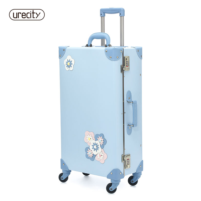 2018 NEW travel suitcase spinner luggage rolling floral flower sample children kids suitcase luggage sky blue free shipping цена 2017