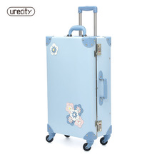 цена на 2018 NEW  travel suitcase spinner luggage rolling floral flower sample children kids suitcase luggage sky blue free shipping