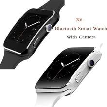 X6 Bluetooth akıllı saat kamera ile erkekler kadınlar için spor bilezik dokunmatik ekran desteği SIM TF kart bileklik cep telefonu
