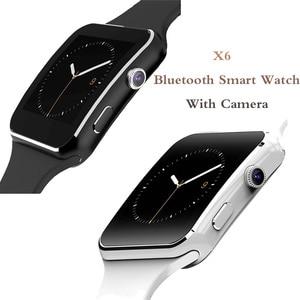 Image 1 - X6 Bluetooth inteligentny zegarek z kamerą dla mężczyzn kobiety bransoletka sportowa z ekranem dotykowym SIM TF Card opaska na telefon komórkowy