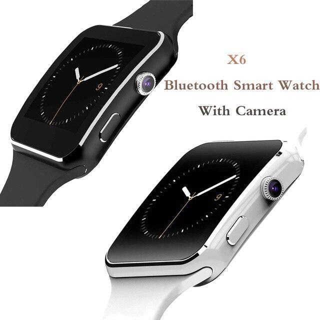 X6 Bluetooth inteligentny zegarek z kamerą dla mężczyzn kobiety bransoletka sportowa z ekranem dotykowym SIM TF Card opaska na telefon komórkowy
