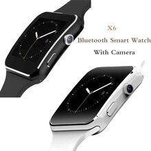 X6 Bluetooth חכם שעון עם מצלמה עבור גברים נשים ספורט צמיד מגע מסך תמיכת SIM TF כרטיס צמיד עבור נייד טלפון
