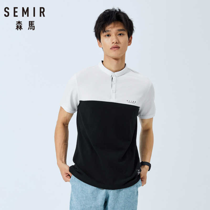 SEMIR Polo shirt male 2019 summer new color contrast stitching trend men letter print student polo shirt